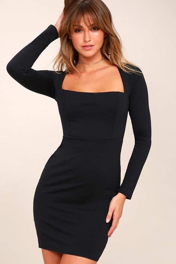 Sexy Black Bodycon Dress Long Sleeve Square Neck Dress