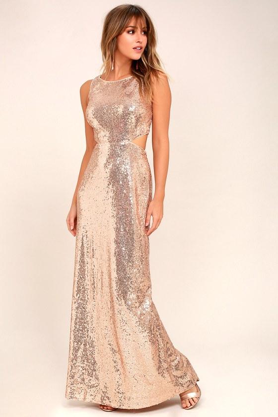Belle Etoile Rose Gold Sequin Maxi Dress 2