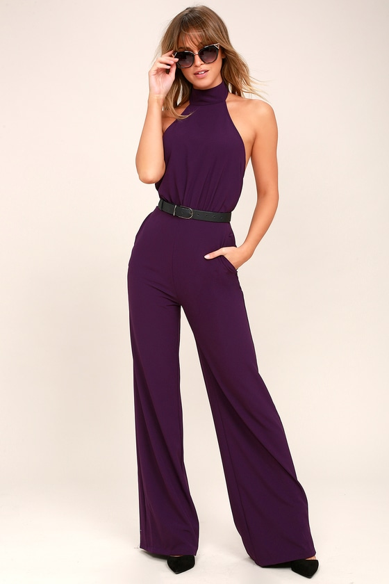 Moment for Life Purple Halter Jumpsuit