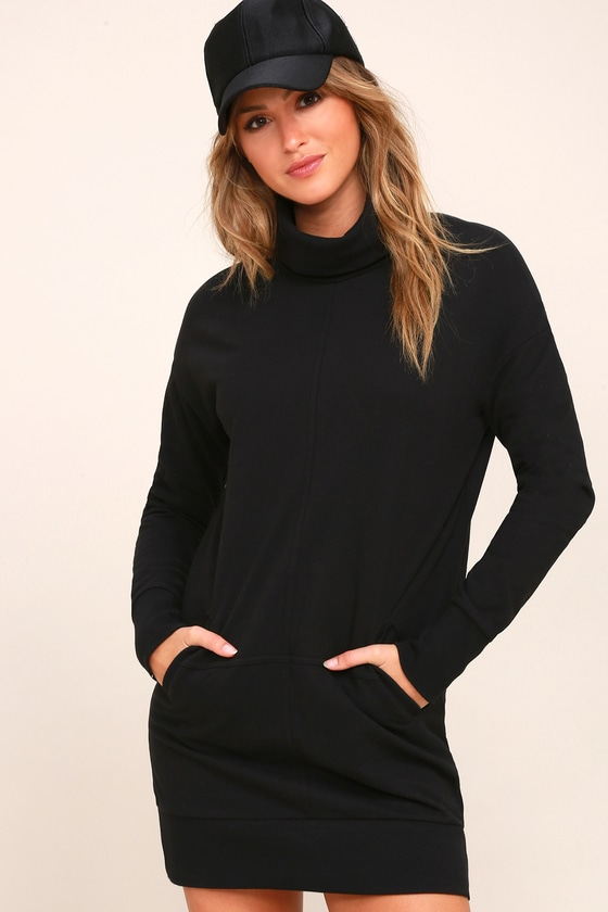 RD Style - Turtleneck Sweater Dress - Turtleneck Mini Dress