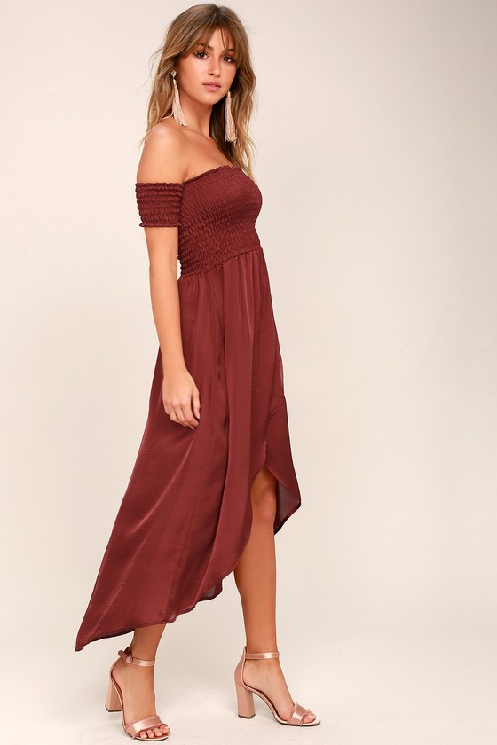 0b1be14aa0 Lucy Love Tranquility - Satin Off-the-Shoulder Dress