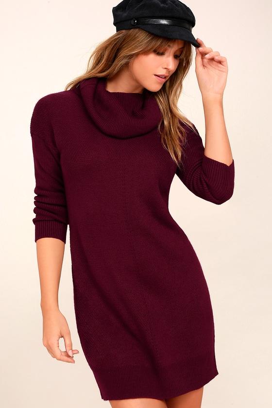 Cute Burgundy Dress - Knit Dress - Cowl Neck Dress 649767050