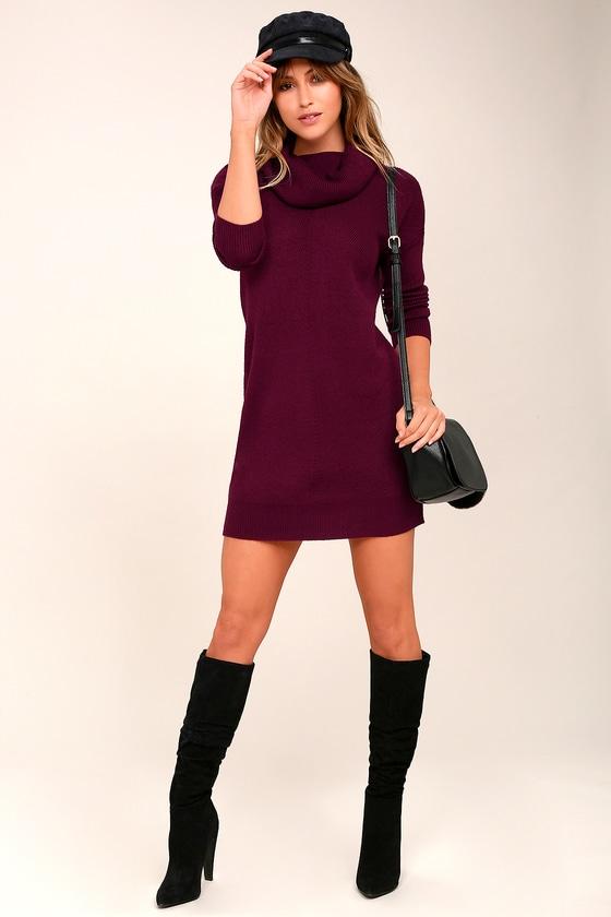 14e65d2d52b9 Cute Burgundy Dress - Knit Dress - Cowl Neck Dress