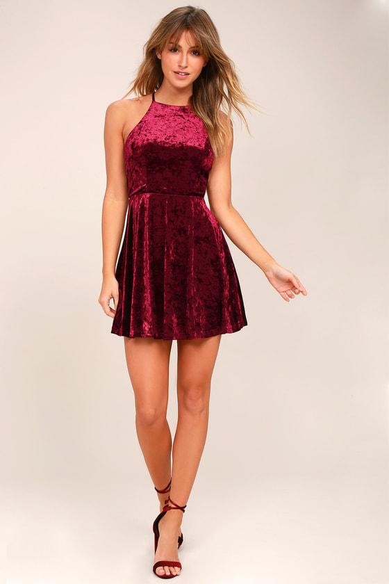a19fc254a7 Chic Skater Dress - Burgundy Dress - Backless Skater Dress