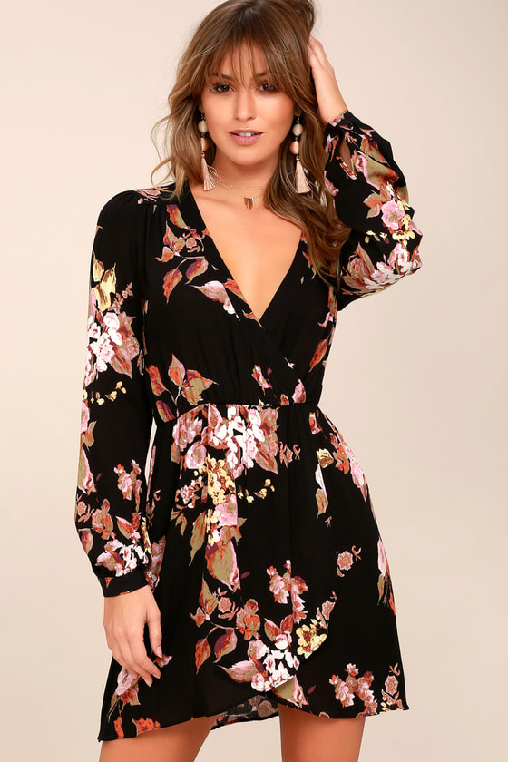 12a8368b208d6 Cute Wrap Dress - Floral Print Dress - Long Sleeve Dress