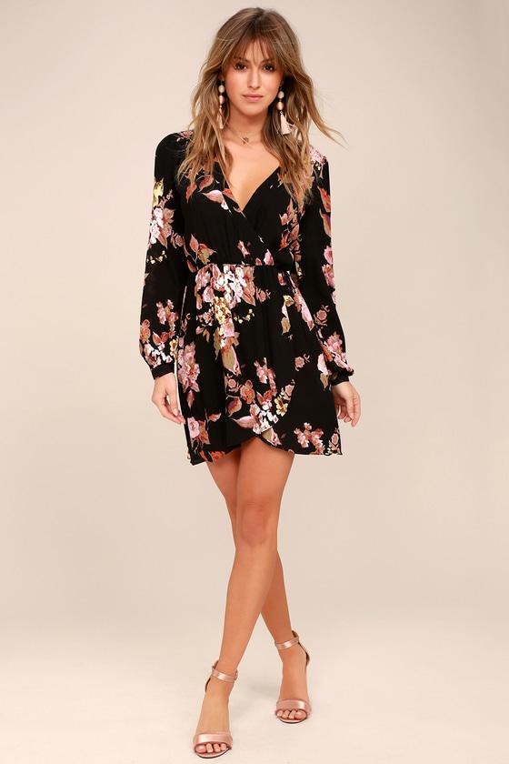 1cd806000a7 Cute Wrap Dress - Floral Print Dress - Long Sleeve Dress