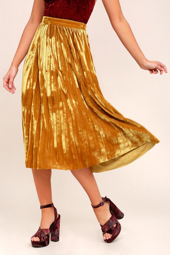 0cbe24d92505e8 Cute Golden Yellow Skirt - Midi Skirt - Velvet Skirt