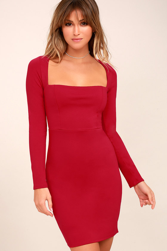 Sexy Red Dress - Long Sleeve Dress - Bodycon Dress