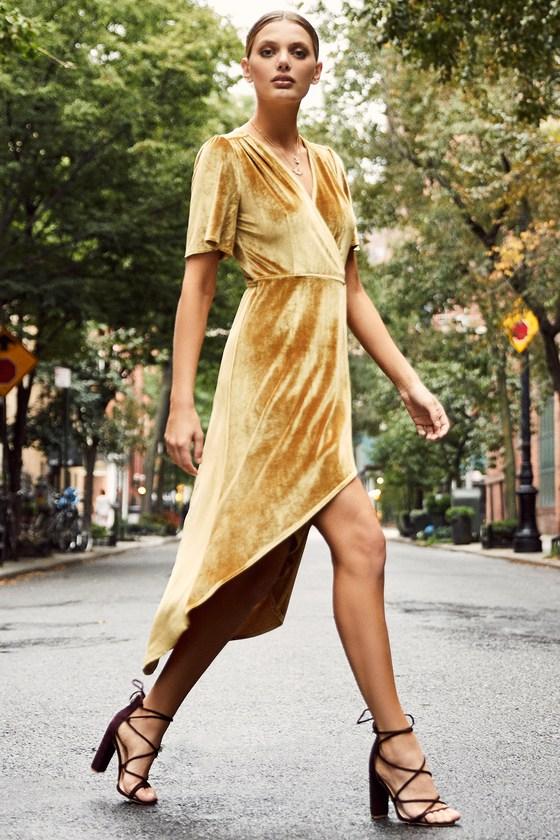 Lovely Golden Yellow Dress Velvet Wrap Dress Midi Dress Lulus