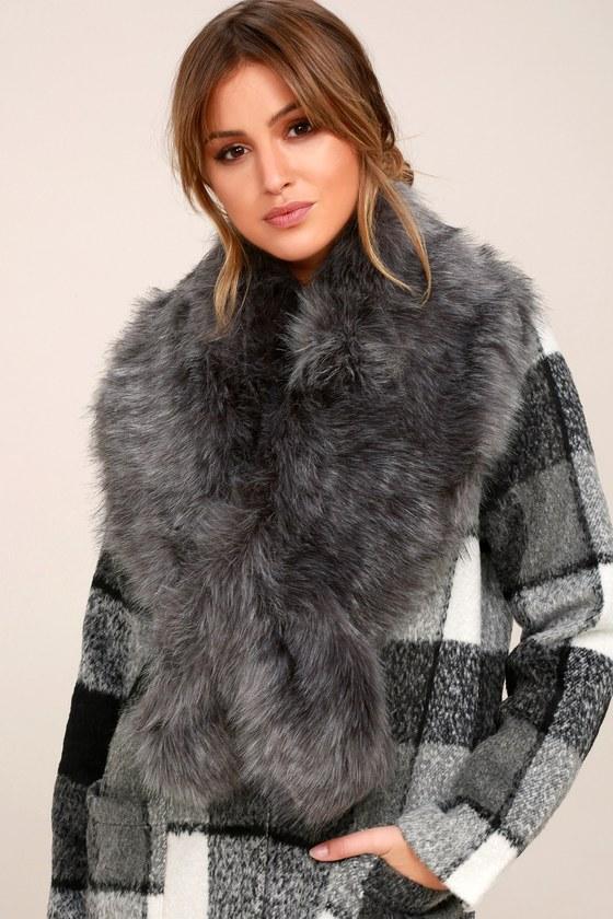 Faux-Ever Dark Grey Faux Fur Stole 2