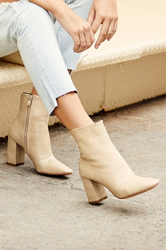 My Generation Nude Snake High Heel Mid-Calf Boots $47