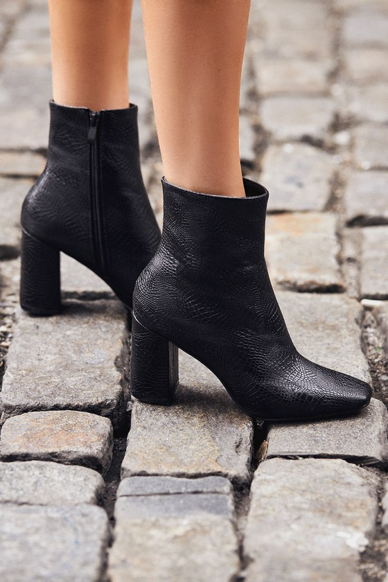 My Generation Black Snake High Heel Mid-Calf Boots 5