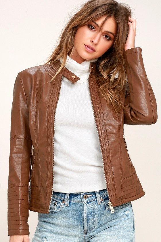 New Bae Brown Vegan Leather Moto Jacket