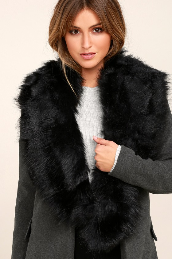 Chic Faux Fur Stole Black Scarf Faux Fur Shawl