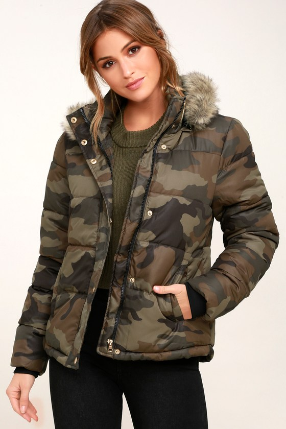 Cozy Camo Print Jacket Puffer Jacket Faux Fur Jacket