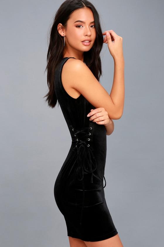 Capture My Attention Black Velvet Lace-Up Bodycon Dress 1