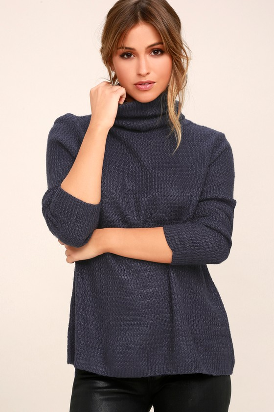Chic Navy Blue Sweater - Turtleneck Sweater - Knit Sweater