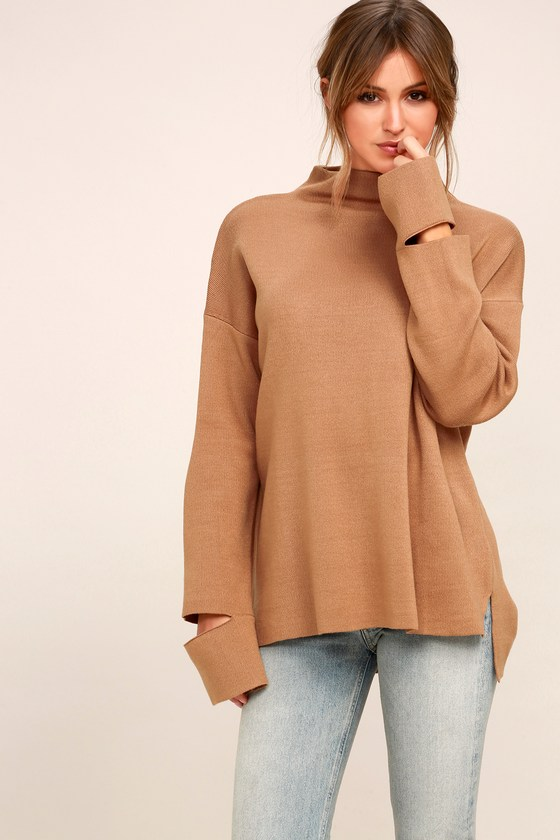 Chic Light Brown Sweater - Funnel Neck Cutout Sweater