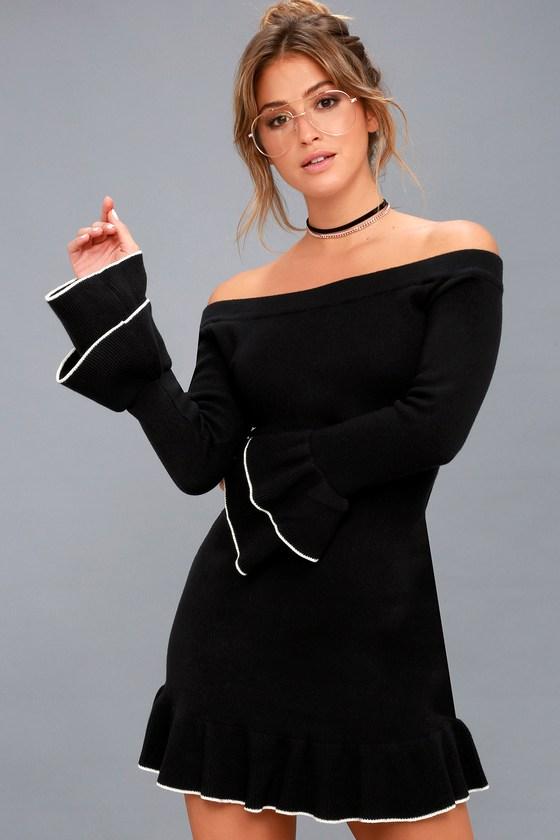 Cute Black Sweater Dress - Off-the-Shoulder Dress