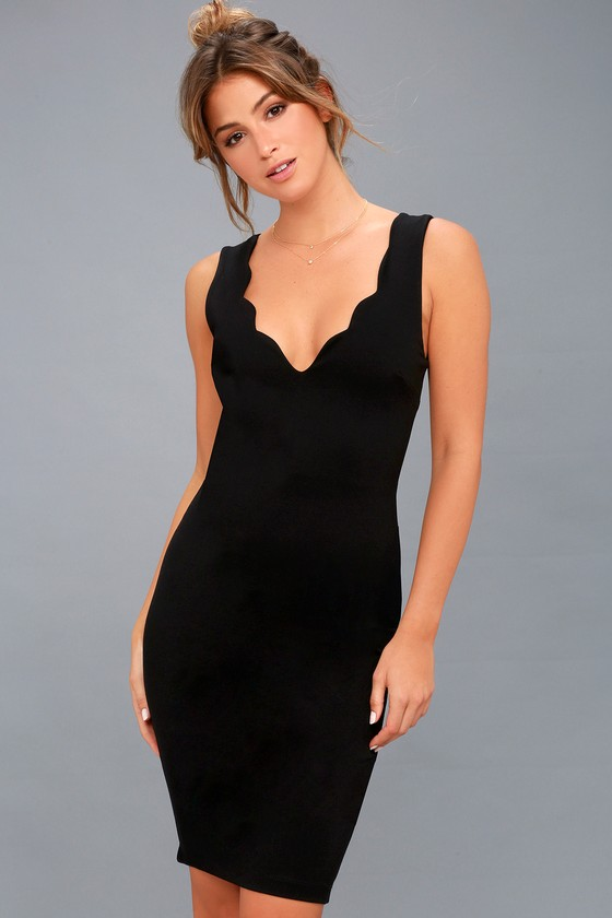 e8c3fc2a2 Sexy Black Dress - Bodycon Dress - Scalloped Dress - LBD