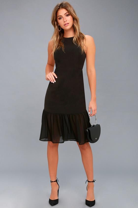 f5fdfd5d98516 Chic Black Dress - Trumpet Skirt Dress - Midi Dress