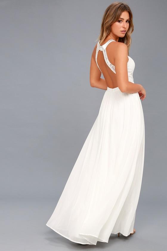 Precious Love White Lace Backless Maxi Dress 3