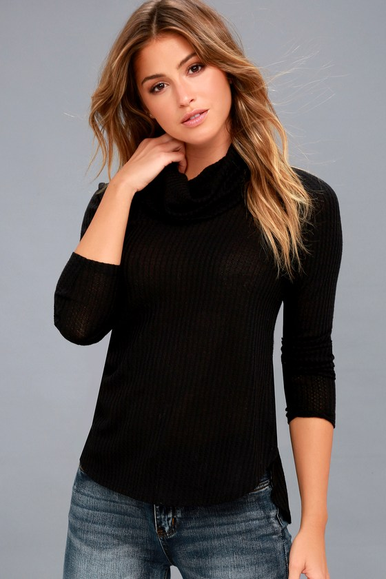 Shasta Black Cowl Neck Sweater Top 3