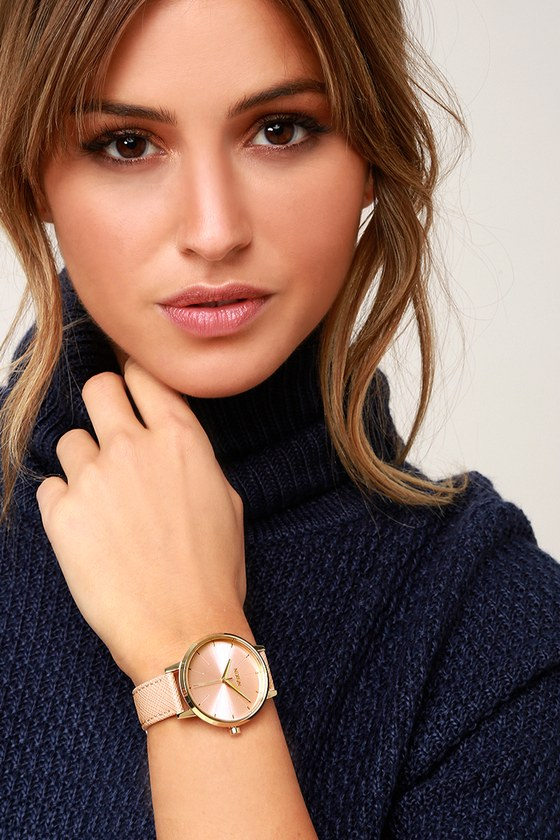 b65d0974c9481 Nixon Kensington - Light Gold and Pink Watch - Leather Watch