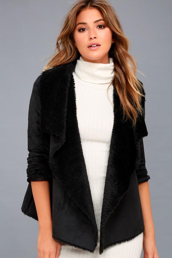 Benette Black Suede Sherpa Coat 3