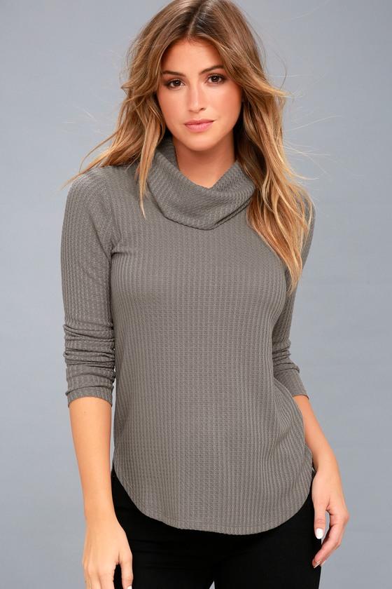 Shasta Grey Cowl Neck Sweater Top 2