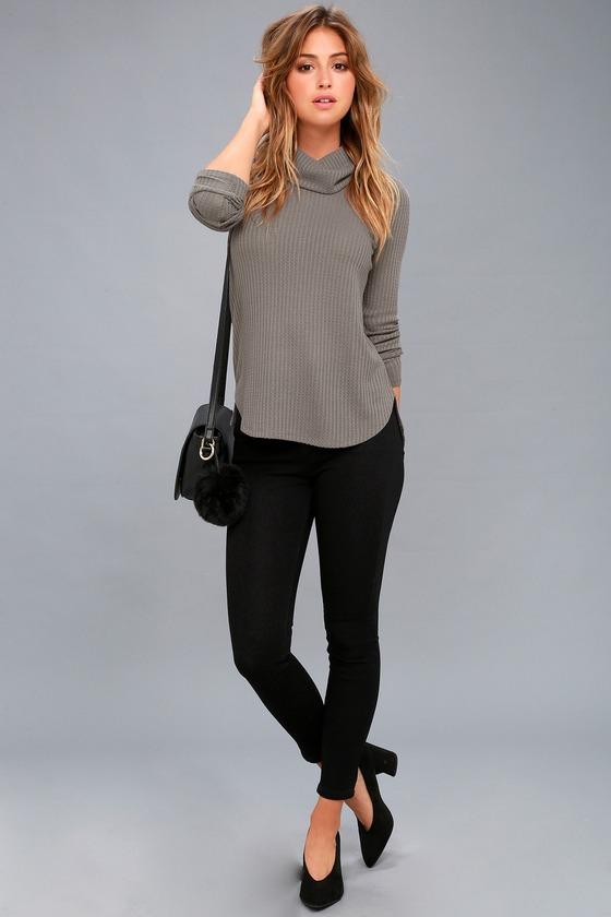 5ca669f4e2 Olive + Oak Top - Grey Waffle Knit Top - Sweater Top