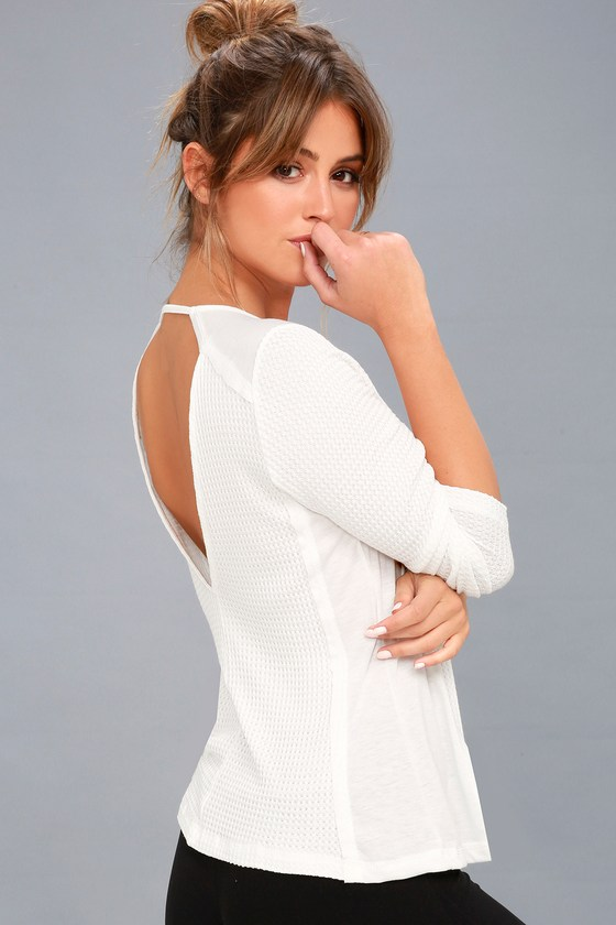 Layer of Love White Backless Long Sleeve Top 2