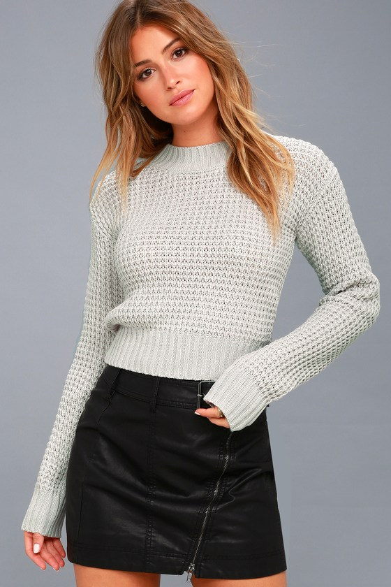 Cute Sweater - Light Grey Sweater - Cropped Sweater