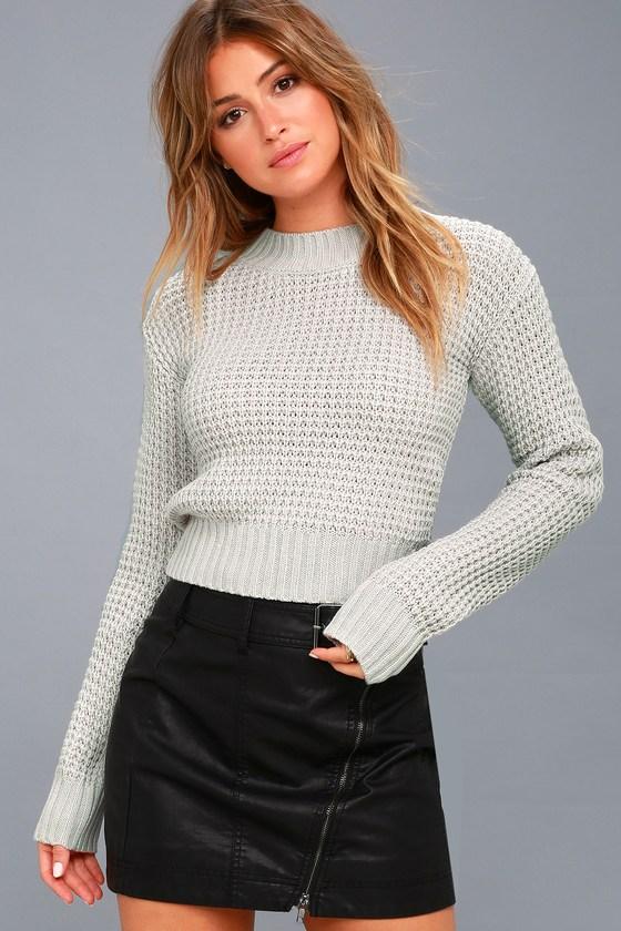 9ac0ce04ec Cute Sweater - Light Grey Sweater - Cropped Sweater