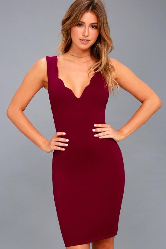 6b87caadc7b4 Sexy Wine Red Dress - Bodycon Dress - Scalloped Dress