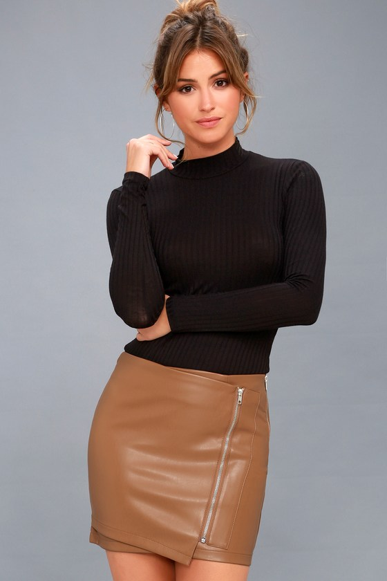 Tough Stuff Tan Vegan Leather Mini Skirt 2
