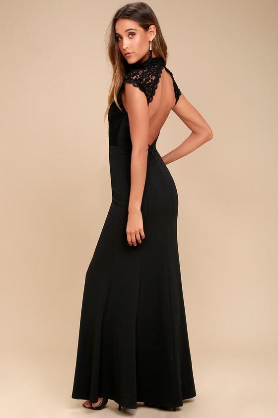 90d39e00376 Lovely Black Dress - Lace Dress - Maxi Dress