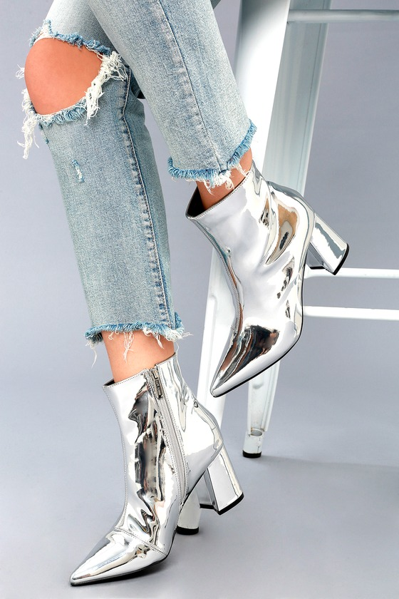 Nebula Silver Patent Ankle Booties 2