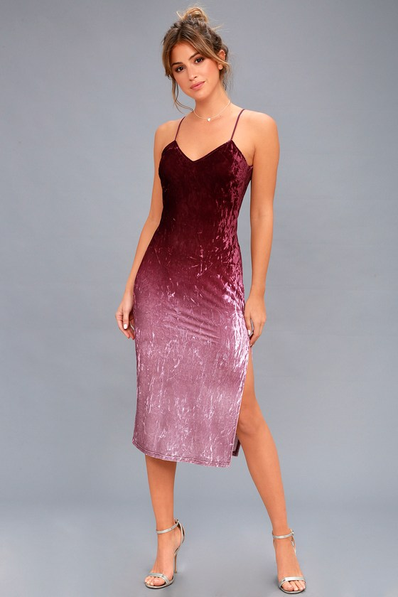 Sunset Skyline Burgundy Ombre Velvet Midi Dress 2
