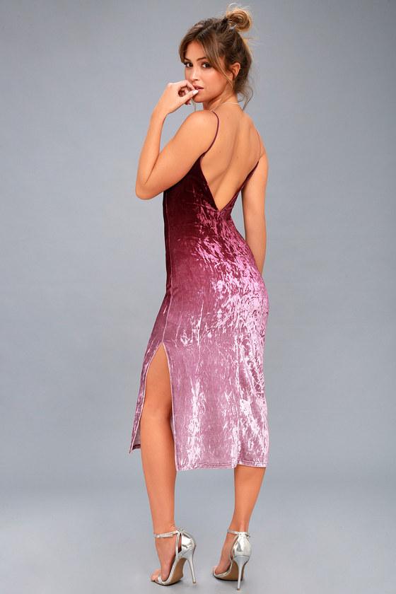 1a3d52a7c9 Trendy Burgundy Ombre Midi Dress - Ombre Velvet Dress