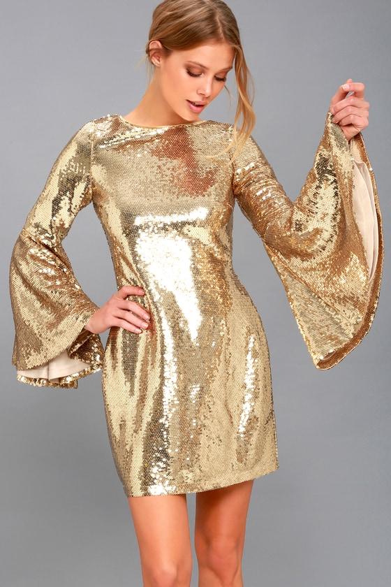 Stunning Sequins Dress Gold Dress Bell Sleeve Dress