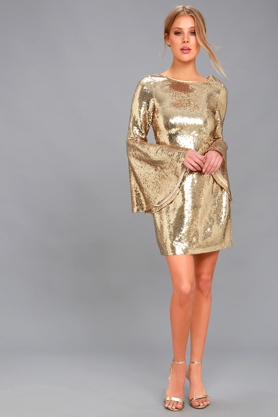 Stunning Sequins Dress Gold Dress Bell Sleeve Dress
