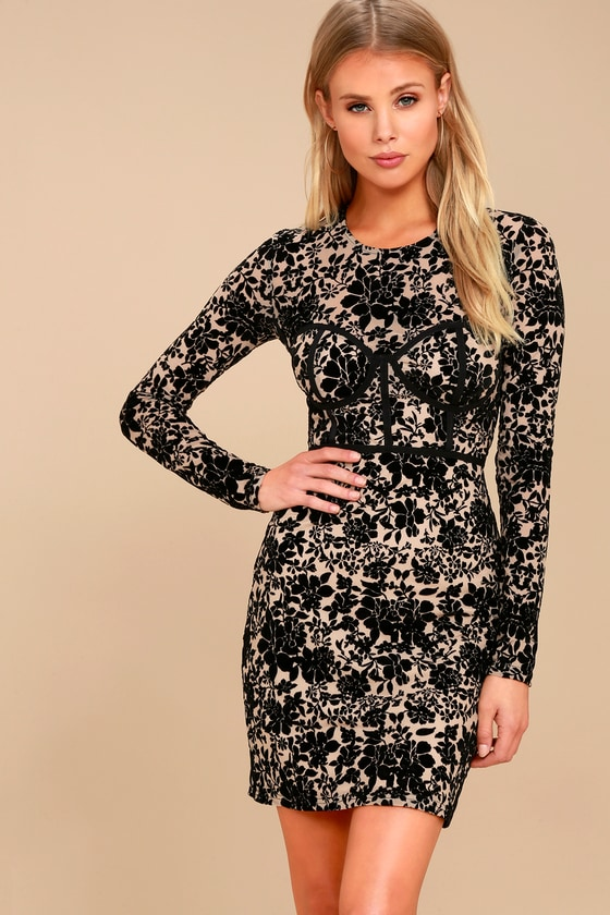 Cor-Set to Go Black and Nude Burnout Velvet Print Dress