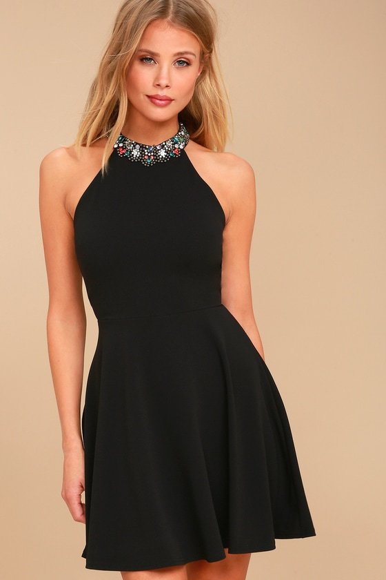 Bling Fling Black Rhinestone Skater Dress 3