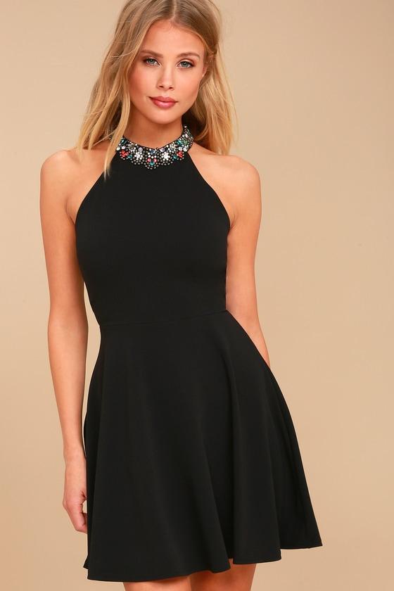Rhinestone Black Dress