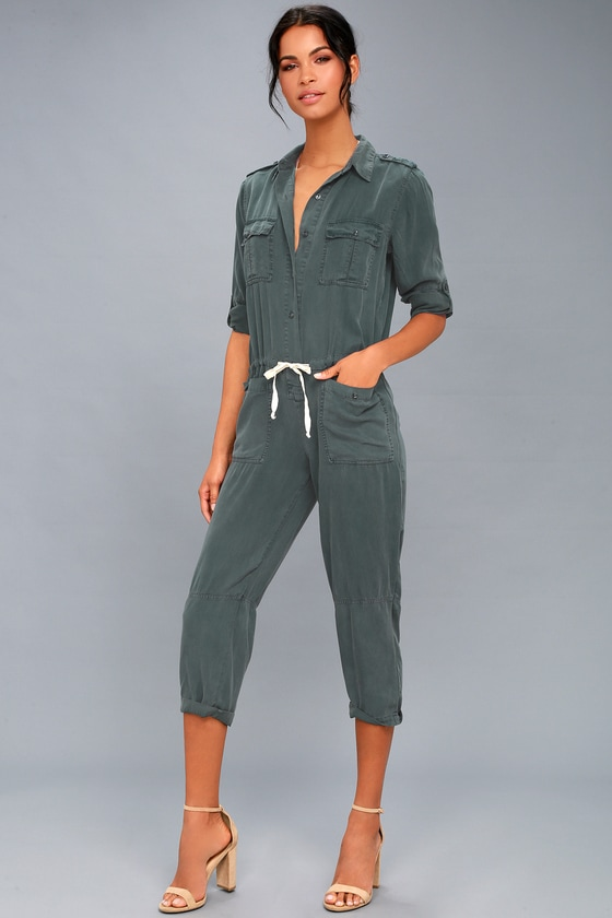 On The Road Riley Washed Navy Blue Utility Jumpsuit