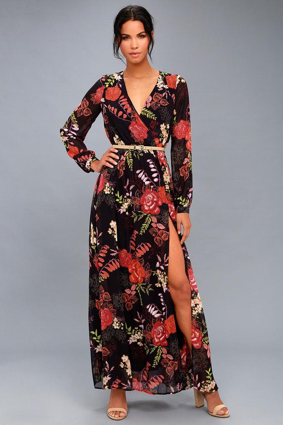 Wondrous Water Lilies Orange and Black Floral Print Maxi Dress 1