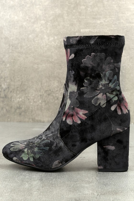 Murray Black Multi Velvet Mid-Calf High Heel Boots