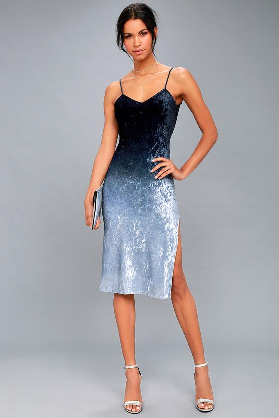 d70fbb4494 Trendy Navy Blue Ombre Midi Dress - Ombre Velvet Dress