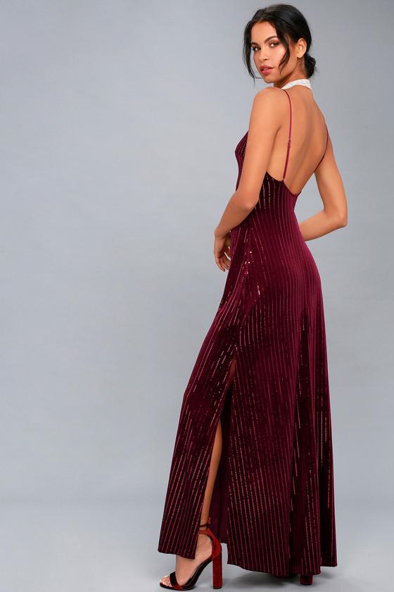 Vintage Cocktail Dresses, Party Dresses, Prom Dresses Studio Lounge Burgundy Velvet Sequin Maxi Dress - Lulus $79.00 AT vintagedancer.com